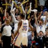 The crowd reacts after Oklahoma City\'s Kevin Durant (35) dunked the ball during the NBA basketball game between the Oklahoma City Thunder and the Golden State Warriors at the Oklahoma City Arena, Tuesday, March 29, 2011. Photo by Bryan Terry, The Oklahoman