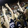 The Shawnee Lady Wolves celebrate after the Class 5A girls high school basketball state tournament championship game between Shawnee and East Central at the Mabee Center in Tulsa, Okla., Saturday, March 10, 2012. Shawnee won, 45-41. Photo by Nate Billings, The Oklahoman