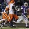 Kansas State\'s Tyler Lockett (16) rushes down the sideline past Oklahoma State\'s Daytawion Lowe (8) during the college football game between the Oklahoma State University Cowboys (OSU) and the Kansas State University Wildcats (KSU) at Bill Snyder Family Football Stadium on Saturday, Nov. 1, 2012, in Manhattan, Kan. Photo by Chris Landsberger, The Oklahoman
