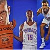 The Oklahoma City Thunder\'s Cole Aldrich, Reggie Jackson, and Lazar Hayward.