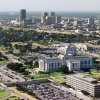 OKLAHOMA CITY / SKYLINE / AERIAL VIEW / STATE CAPITOL: Aerial view of the State Capitol building with downtown Oklahoma City in the Background. Staff photo by Steve Sisney.