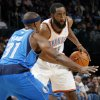Oklahoma City\'s James Harden (13) looks to pass the ball around Jason Terry (31) of Dallas during the NBA basketball game between the Dallas Mavericks and the Oklahoma City Thunder at the Oklahoma City Arena in Oklahoma City, Monday, Dec. 27, 2010. Photo by Nate Billings, The Oklahoman