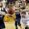 Carl Albert\'s Daesha Pearson (15) and Shawnee\'s Micaela Yu (25) chase the ball in front of Shawnee\'s Bailey Taylor (20) during a Class 5A girls high school basketball game in the semifinals of the state tournament at the Mabee Center in Tulsa, Okla., Friday, March 8, 2013. Shawnee defeated Carl Albert, 50-46, in overtime. Photo by Nate Billings, The Oklahoman