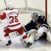 Detroit Red Wings\' Cory Emmerton, left, celebrates after scoring past St. Louis Blues goalie Brian Elliott during the second period of an NHL hockey game Thursday, Feb. 7, 2013, in St. Louis. (AP Photo/Jeff Roberson)