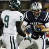 Edmond North\'s Garrett Molinsky looks towards Edmond Santa Fe\'sKhari Harding during a high school football game at Wantland Stadium in Edmond, Okla., Friday, Oct. 29, 2010. Photo by Bryan Terry, The Oklahoman