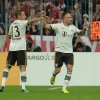 Munich\'s Rafinha of Brazil. left, and Franck Ribery of France celebrate after scoring during the German soccer cup second round match between FC Bayern Munich and Hannover 96, in Munich, southern Germany, Wednesday, Sept. 25, 2013. (AP Photo/Kerstin Joensson)