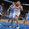 Oklahoma City\'s Cole Aldrich (45) looks for a shot during the NBA preseason basketball game between the Oklahoma City Thunder and the Denver Nuggets at the Chesapeake Energy Arena, Sunday, Oct. 21, 2012. Photo by Garett Fisbeck, The Oklahoman