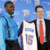 Oklahoma City Thunder draft pick Reggie Jackson, left, and Sam Presti, general manager of the Thunder, hold up Jackson\'s jersey as he is introduced during a new conference at the Boys and Girls Club of Oklahoma County in Oklahoma City, Saturday, June 25, 2011. The Thunder selected Reggie Jackson with the 24th pick in this year\'s NBA draft. Photo by Nate Billings, The Oklahoman