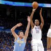 Oklahoma City\'s Kevin Durant (35) shoots the ball over Denver\'s Danilo Gallinari (8) during the first round NBA playoff game between the Oklahoma City Thunder and the Denver Nuggets on Sunday, April 17, 2011, in Oklahoma City, Okla. Photo by Chris Landsberger, The Oklahoman