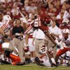 Oklahoma\'s Jermaine Gresham (18) is upended by the Nebraksa defense during the first half of the college football game between the University of Oklahoma Sooners (OU) and the University of Nebraska Huskers (NU) at the Gaylord Family Memorial Stadium, on Saturday, Nov. 1, 2008, in Norman, Okla. BY STEVE SISNEY, THE OKLAHOMAN