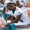 Miami Dolphins wide receiver Davone Bess (15) and running back Reggie Bush look up at the end of the first half of an NFL football game against the New England Patriots, Sunday, Dec. 2, 2012, in Miami. (AP Photo/Wilfredo Lee)