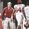 Photo - Bob Stoops yells at Frank Alexander as he walks off the field during OU's 10-3 loss Saturday. If things don't improve drastically, Stoops could be looking at his worst team of this decade. PHOTO BY CHRIS LANDSBERGER, THE OKLAHOMAN