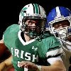 HIGH SCHOOL FOOTBALL / KOOPER RUMINER: Irish quarterback Jacob Lewis escapes grasp of Deer Creek defender Kooper (cq) Ruminer on his way into the end zone to score McGuinness\' first touchdown on this second quarter play. Deer Creek Antlers vs. Bishop McGuinness Fighting Irish at Pribil Stadium Friday night, Nov. 2, 2012. Photo by Jim Beckel, The Oklahoman