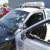 This is the police car of the Oklahoma City Police officer who was ambushed and shot multiple times after a Sunday night traffic stop. Oklahoma City, OK, Friday, Sept. 3, 2010. The white stickers show where the bullets entered the vehicle. By Paul Hellstern, The Oklahoman