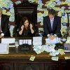 Argentina\'s President Cristina Fernandez, second left, gives a speech during the inauguration for the opening session of the Argentine National Congress in Buenos Aires, Argentina, Friday, March 1, 2013. Pictured second from right is Vice President Amado Boudou. (AP Photo/Victor R. Caivano)
