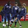Photo -   From left to right: Italy's national team players Mario Balotelli, Riccardo Montolivo and Alessandro Diamanti seen during a training session prior to their World Cup 2014 qualification match against Armenia's team in Yerevan, Armenia, on Thursday, Oct. 11, 2012. (AP Photo / PanARMENAIN, Vahan Stepanyan)