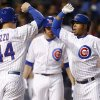 Photo - Chicago Cubs' Luis Valbuena, right, celebrates his three-run home run against the San Diego Padres with Anthony Rizzo, who scored, during the fourth inning of a baseball game on Wednesday, July 23, 2014, in Chicago. (AP Photo/Andrew A. Nelles)