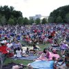 """Thousands await the showing of """"Frozen"""" during Sonic Movie Night at the Myriad Botanical Gardens , Wednesday, July 9, 2014. Photo by Doug Hoke, The Oklahoman"""