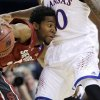 Stanford\'s Chasson Randle, left, tries to maneuver around Kansas\' Naadir Tharpe, right, during the first half of a third-round game of the NCAA college basketball tournament Sunday, March 23, 2014, in St. Louis. (AP Photo/Jeff Roberson)