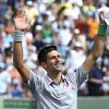 Novak Djokovic, of Serbia, waves after defeating Rafael Nadal, of Spain, 6-3, 6-3 during the men\'s final at the Sony Open Tennis tournament on Sunday, March 30, 2014, in Key Biscayne, Fla. ( AP Photo/J Pat Carter)