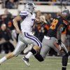 KSU\'s Collin Klein (7) scrambles for a first down after a fourth down in the fourth quarter during a college football game between the Oklahoma State University Cowboys (OSU) and the Kansas State University Wildcats (KSU) at Boone Pickens Stadium in Stillwater, Okla., Saturday, Nov. 5, 2011. OSU won, 52-45. Photo by Nate Billings, The Oklahoman