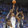 Oklahoma City\'s Kevin Durant (35) puts up a shot over Memphis\' Zach Randolph (35) and Tony Allen (9) during game one of the Western Conference semifinals between the Memphis Grizzlies and the Oklahoma City Thunder in the NBA basketball playoffs at Oklahoma City Arena in Oklahoma City, Sunday, May 1, 2011. Photo by Chris Landsberger, The Oklahoman