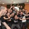 Photo - Juventus players celebrate after winning the Serie A overall soccer title, in a Turin hotel, Italy, Sunday, May 4, 2014. Juventus clinched its third straight and 30th overall Serie A title Sunday without even playing. With second-place Roma losing 4-1 at Catania, Juventus' eight-point lead became insurmountable because Roma only has two matches remaining. Juventus, which has three games to play, can celebrate when it hosts Atalanta on Monday although the Turin squad's players and coach Antonio Conte were already celebrating outside their team hotel wearing championship T-shirts. (AP Photo/Daniele Badolato, Lapresse)
