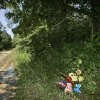 A memorial to Taylor Paschal-Placker and Skyla Whitaker is pictured in Weleetka, Okla., Tuesday, June 10, 2008, at the spot along a rural road near Taylor\'s home where the girls\' bodies were found Sunday night. (AP Photo)