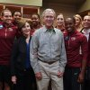 Former President George W. Bush and Laura Bush pose with members of the Florida State women\'s basketball team before their second-round game against Baylor in the NCAA women\'s college basketball tournament, Tuesday, March, 26, 2013, in Waco, Texas. (AP Photo/Rod Aydelotte, Pool)