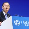U.N. Secretary-General Ban Ki-moon addresses the opening of the high-level segment of the annual U.N. climate talks involving environment ministers and climate officials from nearly 200 countries, in Doha, Qatar, Tuesday, Dec. 4, 2012. Ban has urged governments to speed up slow-moving talks to forge a joint response to global warming and warned that climate change was an