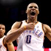 CELEBRATION: Oklahoma City\'s Russell Westbrook (0) celebrates during the NBA basketball game between the Oklahoma City Thunder and the Utah Jazz, Sunday, March 15, 2010, at the Ford Center in Oklahoma City. Photo by Sarah Phipps, The Oklahoman ORG XMIT: KOD