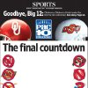 Photo - BIG 12 COLLEGE FOOTBALL HELMETS / GRAPHIC/ ILLUSTRATION FOR STORY: Goodbye, Big 12: Oklahoma, Oklahoma State headed for the Pac-10 Conference: The final countdown