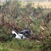 Two car are destroyed after being swept off I-40 west of El Reno by a tornado on Tuesday, May 24, 2011. Photo by Chris Landsberger, The Oklahoman ORG XMIT: KOD