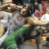 Photo - FILE - This Jan. 16, 2014 file photo shows Keystone High School wrestler Logan Stiner, top, during a match in Sheffield Village, Ohio. A recent autopsy found that the 18-year-old Stiner had a lethal amount of caffeine in his system when he died May 27, 2014. The sudden death of a healthy high school senior has ramped up attention on unregulated caffeine powder and the ease of taking a toxic dose. (AP Photo/The Chronicle Telegram, Steve Manheim)