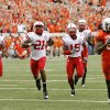 OKLAHOMA STATE UNIVERSITY: OSU\'s Justin Blackmon (81) leaves behind Nebaska defenders, including DeJon Gomes (7), Prince Amukamara (21) and Alfonzo Dennard (15) on an 80-yard touchdown catch in the second quarter during the college football game between the Oklahoma State Cowboys (OSU) and the Nebraska Huskers (NU) at Boone Pickens Stadium in Stillwater, Okla., Saturday, Oct. 23, 2010. Photo by Nate Billings, The Oklahoman