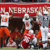 OSU\'s Jeremy Nethon (19) celebrates a stop of Nebraska\'s Quentin Castille, not pictured, on fourth down in the second quarter during the college football game between Oklahoma State University (OSU) and the University of Nebraska (NU) at Memorial Stadium in Lincoln, Neb., Saturday, October 13, 2007. By Nate Billings, The Oklahoman