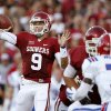 Oklahoma\'s Trevor Knight (9) passes during a college football game between the University of Oklahoma Sooners (OU) and the Louisiana Tech Bulldogs at Gaylord Family-Oklahoma Memorial Stadium in Norman, Okla., on Saturday, Aug. 30, 2014. Photo by Bryan Terry, The Oklahoman