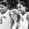 Photo - OU's Courney Paris, left, is promising to win a national championship along with sister Ashley, right, and coach Sherri Coale, middle. Photo BY NATE BILLINGS, THE OKLAHOMAN