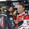 Kevin Harvick, right, laughs as he talks with Kurt Busch during practice for Sunday\'s NASCAR Sprint Cup Series auto race at New Hampshire Motor Speedway, Friday, Sept. 20, 2013, in Loudon, N.H. (AP Photo/Mary Schwalm)