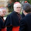 Cardinal Odilo Pedro Scherer, of Brazil, center, is followed by compatriot Cardinal Geraldo Majella Agnelo, left, as they arrive for a meeting, at the Vatican, Monday, March 4, 2013. Cardinals from around the world have gathered inside the Vatican for their first round of meetings before the conclave to elect the next pope, amid scandals inside and out of the Vatican and the continued reverberations of Benedict XVI\'s decision to retire. (AP Photo/Andrew Medichini)