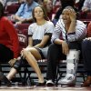 Injured players Maddie Manning, left, and Kaylon Williams watch teammates during the second half as the University of Oklahoma (OU) Sooner women\'s basketball team plays the Northwestern State Lady Demons at the Lloyd Noble Center on Thursday, Nov. 29, 2012 in Norman, Okla. Photo by Steve Sisney, The Oklahoman