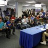 Photo - Kentucky's Julius Randle, bottom right, announces he will leave after one season to enter the NBA draft during a news conference in Lexington, Ky., Tuesday, April 22, 2014. (AP Photo/James Crisp)