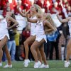 Sooner pom squad performs during the second half of the Bedlam college football game in which the University of Oklahoma Sooners (OU) defeated the Oklahoma State University Cowboys (OSU) 51-48 in overtime at Gaylord Family-Oklahoma Memorial Stadium in Norman, Okla., Saturday, Nov. 24, 2012. Photo by Steve Sisney, The Oklahoman