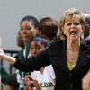 Baylor coach Kim Mulkey argues a call during the first half of Baylor\'s NCAA college basketball game against Lamar, Friday, Nov. 9, 2012, in Waco, Texas. Baylor won 80-34. (AP Photo/Waco Tribune Herald, Rod Aydelotte)