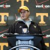 Tennessee interim head coach Jim Chaney speaks during a news conference after NCAA college football practice, Monday, Nov. 19, 2012, in Knoxville, Tenn. Chaney, who worked Tennessee\'s first 11 games from the press box as offensive coordinator, was named interim coach after Derek Dooley was fired Sunday. (AP Photo/The Knoxville News Sentinel, J. Miles Cary)