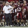 Head Coach Larry Blakeney and Omar Haugabook stand on the sidelines during the second half of their college football game between the Troy University Trojans and the Oklahoma State University Cowboys at Movie Gallery Veterans Stadium in Troy, Ala., Friday, September 14, 2007. BY STEVE SISNEY, THE OKLAHOMAN