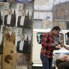 Egyptians eat in front of posters of Presidential candidate Amr Moussa for the upcoming elections in Cairo, Egypt, Thursday, April 26, 2012. Egypt\'s election commission announced the final list of 13 candidates this week for next month\'s presidential elections. Arabic on the posters read,