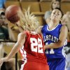 The West\'s Lexie Brown pressures the East\'s Courtney Backward on a pass during the All State Small School Girls Basketball game at Oral Roberts University in Tulsa, OK, July 25, 2012. MICHAEL WYKE/Tulsa World