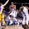 Oklahoma City\'s Russell Westbrook (0) looks to pass during Game 2 in the second round of the NBA playoffs between the Oklahoma City Thunder and L.A. Lakers at Chesapeake Energy Arena in Oklahoma City, Wednesday, May 16, 2012. Photo by Bryan Terry, The Oklahoman