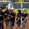 Sydney Angles youth team is introduced before the Women\'s College World Series softball game between Oklahoma and Tennessee at ASA Hall of Fame Stadium in Oklahoma City,Tuesday, June, 4, 2013. Photo by Sarah Phipps, The Oklahoman